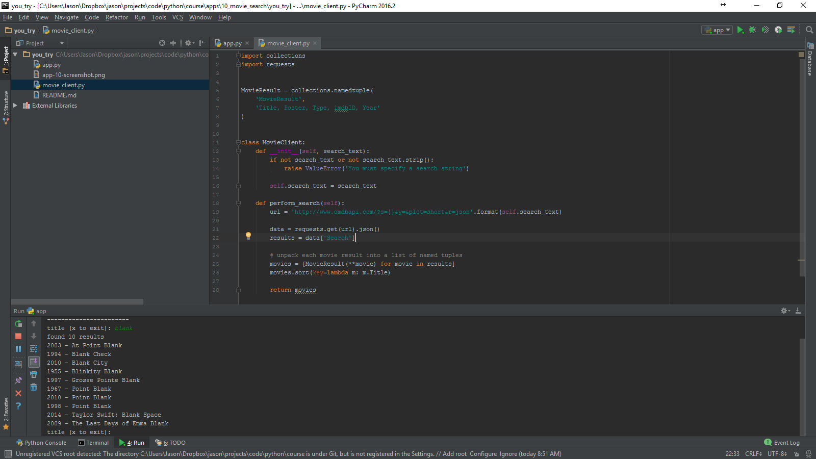 Pycharm screenshot